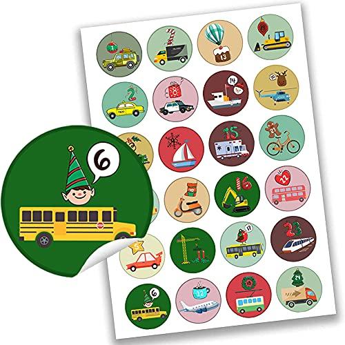 Beetop Adesivi natalizi per calendario dellAvvento, 2 x 24 adesivi per auto, numeri autoadesivi per fai da te e decorazioni, numeri di Natale