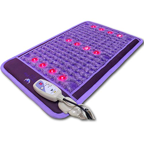 Ereada Far Infrared Amethyst Mini Mat - Purple 32'L x 20'W (80x50 cm) - Adjustable 86-158°F (30-70°C) FIR Heat - Natural Crystals - Bio-Photon Red Light - Negative Ions - Original Korean Manufacturer