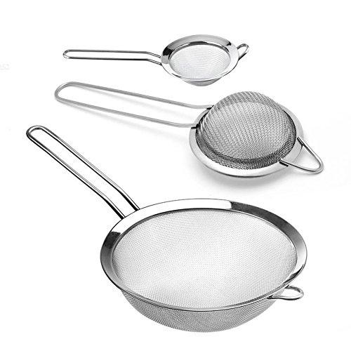 Infreecs Set di 3 Colino/Setaccio/Scolapasta in Acciaio Inox Maglia fine con Maniglia per Cucina - in 3 Formati (8cm/11cm/18cm)