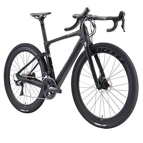 SAVADECK Carbon Gravel Road Bike, Hydraulic Disc Brake Gravel Bike 700cX40c Trail Gravel Road Bike with Shimano R8000 Crankset 22 Speeds and 40C CST Tires,Grey 54cm