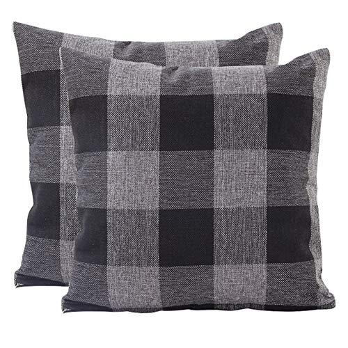 JOTOM Plaids Tartan Linen Throw Pillow Covers Cushion Cover for Home Sofa Car Decorative Pillowcases,Set of 2,45 x 45cm (Checkered,Black Grey)