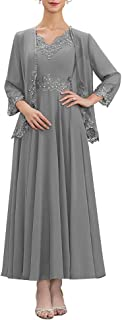 Sponsored Ad - Two Piece Chiffon Mother of The Bride Dress Long Lace Evening Formal Gowns for Women 2021