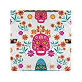 RAUP Satin Napkins Set of 6, Mexican Seamless Patternsugar Skulls Colorful Flowers,Square Printed Party & Dinner Cloth Napkins,20' X 20'