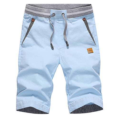 Tansozer Kurze Hosen Herren Bermuda Shorts Herren Sommer Chino Gummizug Sky Blau L
