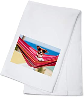 Funny Dog Wearing Red Sunglasses in a Hammock on the Beach 9019043 (100% Cotton Kitchen Towel)