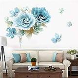 DERUN TRADING Adhesivo decorativo de flores para paredes, Flor azul Etiqueta de la pared Planta Colgante Etiqueta de la pared Habitación de niña Dormitorio Sala de estar Oficina