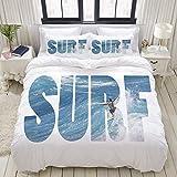 Funda nórdica, enorme y majestuoso surfista que monta las olas del océano en Hawaii Adrenaline Epic Athlete Sea Pacific, juego de ropa de cama Juegos de fundas de edredón de poliéster de lujo ultra có
