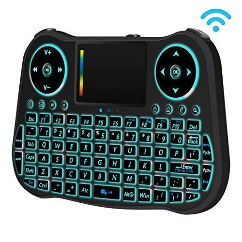 PC MT08 2,4 GHz Mini Wireless Air Mouse QWERTY-Tastatur mit bunter Hintergrundbeleuchtung und Touchpad sowie Multimedia-Steuerung für PC, Fernseher (schwarz) Komfortabel und sehr zu empfehlen