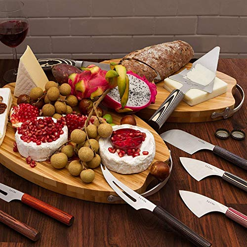 La Cote 6 Piece Cheese Knife Set Stainless Steel Blade Pakka Wood Handle (8 inch)