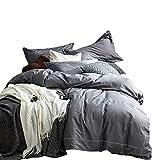 No-branded Sygjal Color sólido algodón Acolchado con sábanas de algodón Lavado Hojas de Cama nórdica Estilo Dormitorio algodón Cubierta del edredón de Cama (Color : Gris, Size : 1.8m)