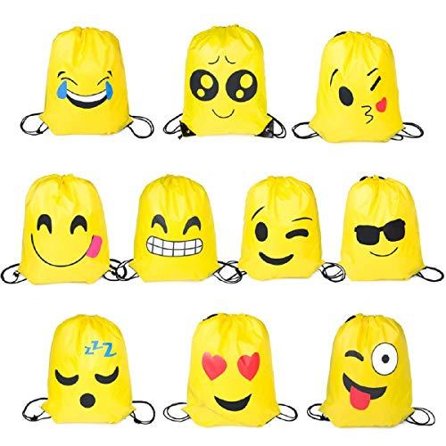 Longwan Emoji Turnbeutel, 10 Stück Mitgebsel | Kindergeburstagen | Gastgeschenke für Kinder Geburtstage, Kunst und Handwerk Veranstaltungen