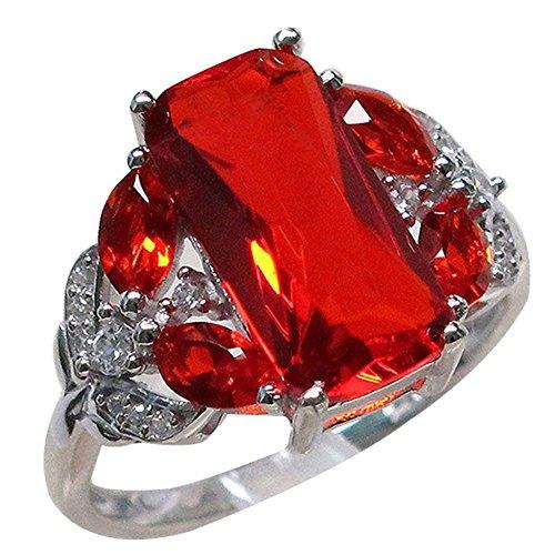 Yosemite Anillo de compromiso cuadrado rojo para mujer, joyería de aniversario de compromiso