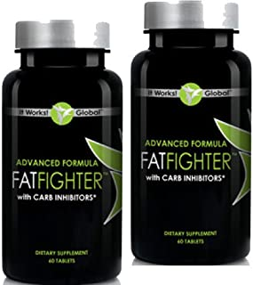 Weight Loss Detox Program - Advanced Formula Fat Fighter with Carb Inhibitors - It Works Fat Fighter (2 Pack) 60 Ct Per Bottle