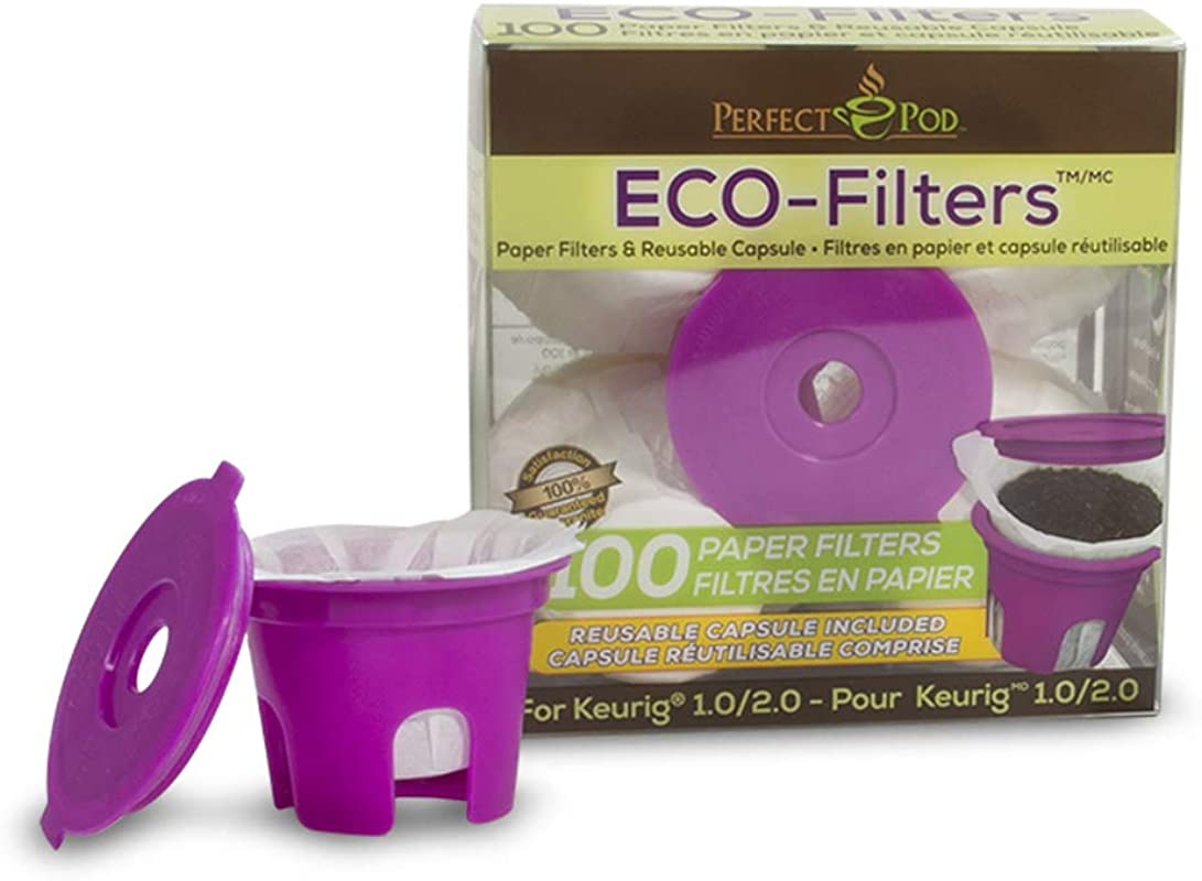 ECO Filters Starter Kit Reusable Refillable Coffee Pod Capsule 100 Disposable Paper Filters By Perfect Pod