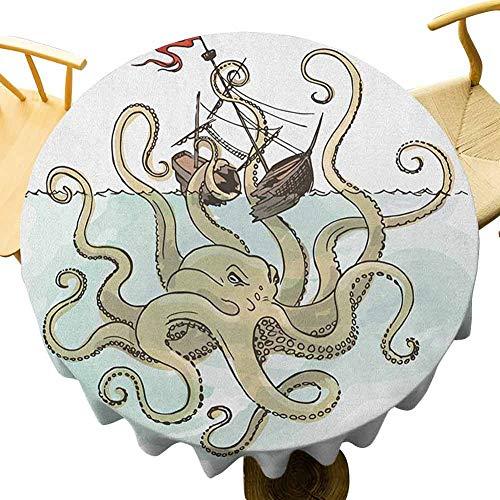 VICWOWONE Kraken Mantel – 40 pulgadas de poliéster redondo mantel pulpo hundiendo los barcos piratas mito griego pescado cultura dibujos animados imagen para fiestas verde claro