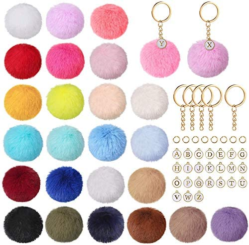 Auihiay 130 Pieces Pompoms Keychain Set Include 26 Faux Fur Pom Poms Balls 26 Letter Beads and product image