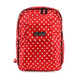 JuJuBe MiniBe Small Backpack, Onyx Collection - Black Ruby - Red/White Polka Dots