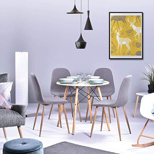 H.J WeDoo Ronde Table de Salle à Manger Scandinave Design Blanc avec Eiffel Jambes en hêtre 80 cm