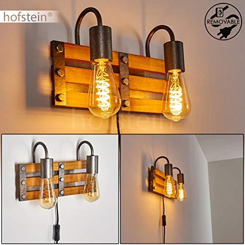 Wandleuchte Mallard, Wandlampe aus Metall/Holz in Silber/Braun, 2-flammig, 2 x E27-Fassung max. 28 Watt, Wandspot im Retro/Vintage Design m. An-/Ausschalter am Kabel, LED geeignet