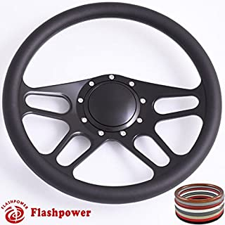 Flashpower 14'' Billet Half Wrap 9 Bolts Steering Wheel with Horn Button(Black)