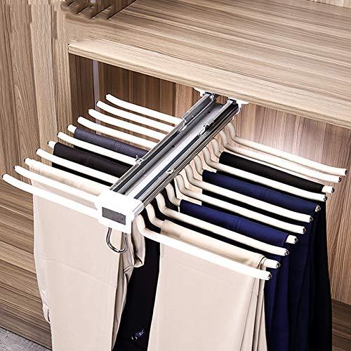CLX Ausziehbare Hose Kleiderbügelhalter Mit Dämpfer 22 Paar Hosenhalter Für Kleiderschrank-Weiß,Beige