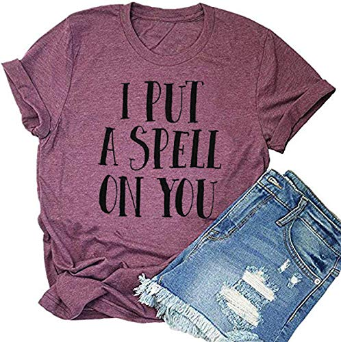 Beopjesk Womens Fall Halloween Tees Funny I Put A Spell On You T-Shirts Ghost Host Tops Foolish Mortal Shirt (M, D)