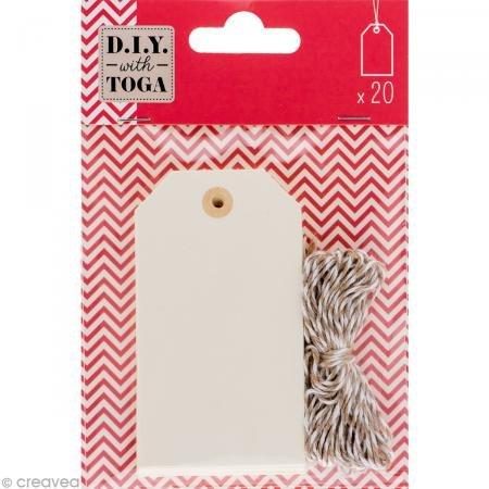 D.I.Y with Toga Lot de 20 Étiquettes Tags avec Ficelle Bicolore Assortie, Autre, Ivoire, 9.5 x 13.5 x 1 cm