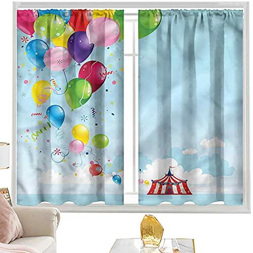 Cortinas para dormitorio, diseño de circo, carnaval, globos de carpa, 52 x 72 pulgadas, bolsillo para barra de cortinas