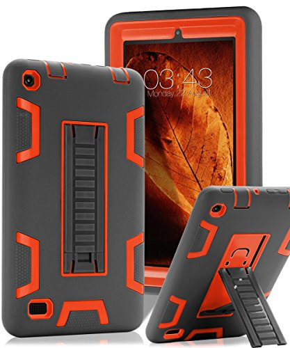 TOPSKY Fire 7' (2015 Release) Case,[Kickstand Feature],Shock-Absorption/High Impact Resistant Heavy Duty Armor Defender Case for Amazon Fire 7 Inch Tablet,with Stylus, Grey/Orange