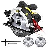 Sega Circolare, URCERI 1200W 5500RPM Seghe Circolari con Guida Laser, 2 Lame Ø185mm (48T&24T), 1...