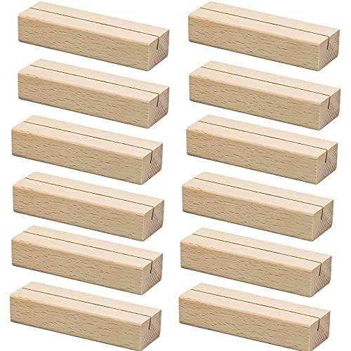 fengman123 Marcadores de mesa de madera con soporte de 12 unidades para indicar el lugar de la boda, números de mesa, restaurante y mesa, de madera saludable y ecológica, 10 x 3 x 2 cm