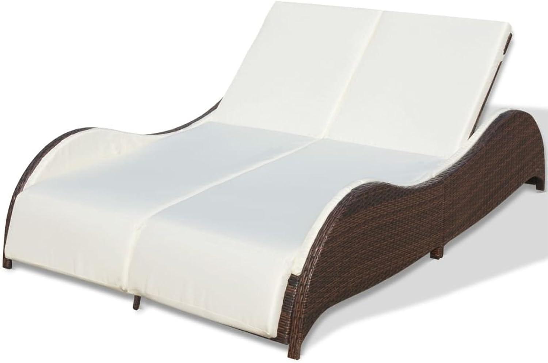 VidaXL Sun Lounge Double Brown Wicker Rattan Recliner Day Bed Outdoor Furniture