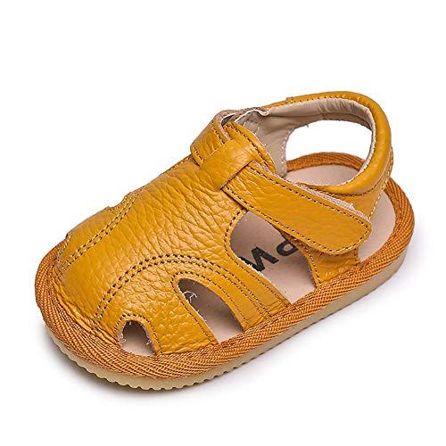 Sandalen Baby Jungen Mädchen Weiches Leder Sommer Geschlossene Zehensandale Baby Jungen Mädchen Strand Innen Draussen Lauflernschuhe Schuhe Kleinkind 18 EU,Gelb