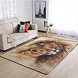 Cyliyuanye Alfombra elegante con diseño de león y hijo para salón, dormitorio, comedor, antideslizante, color blanco, 122 x 183 cm