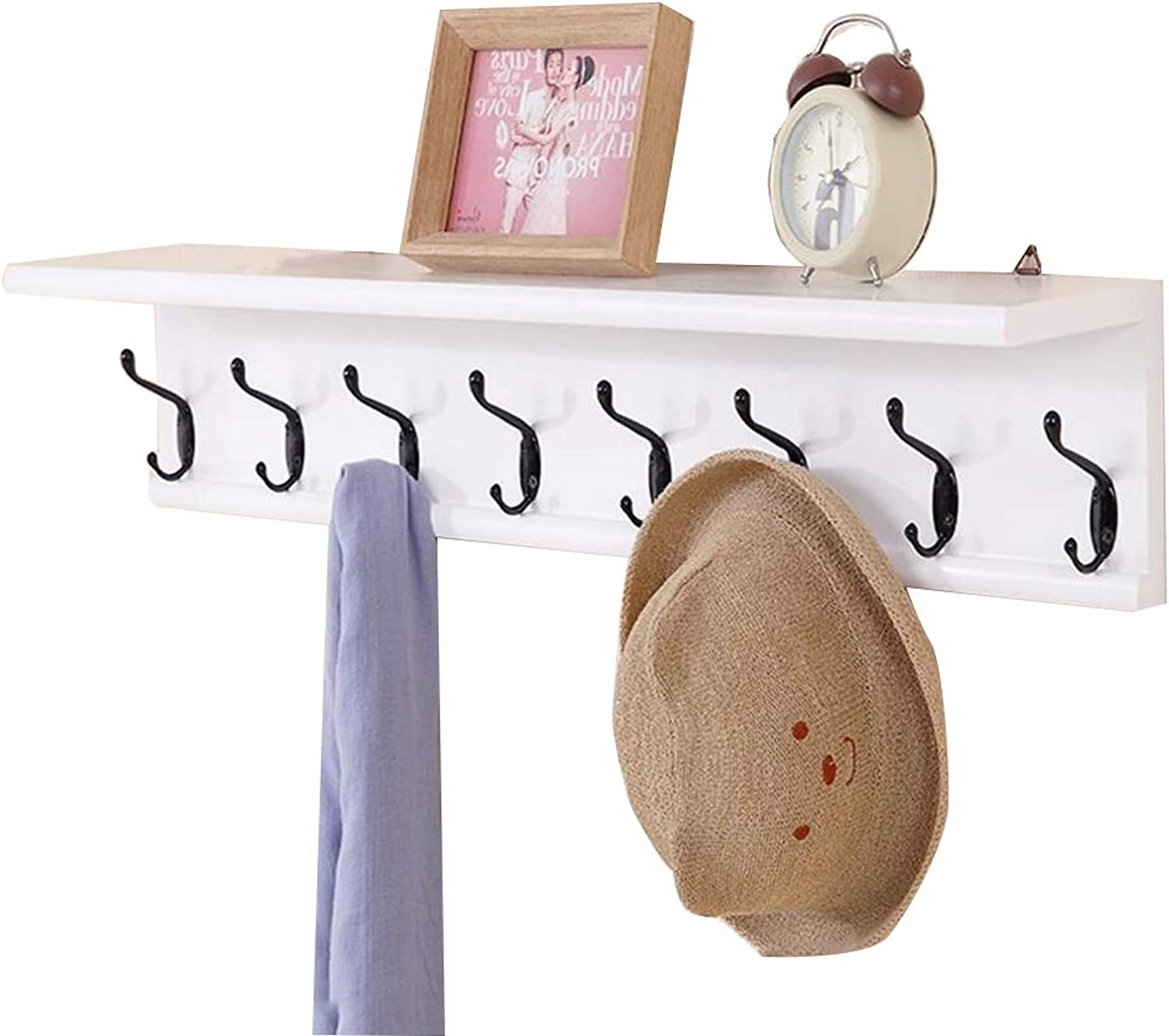 LIANGLIANG Wall Mounted Coat Rack The Top Can Hold Two Layer Hooks Solid Wood White 3 Kinds of Sizes are Optional (Size   80  15  15cm)