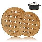 XGzhsa Salvamanteles de Bambú, Soportes Ollas Calientes, 2 piezas antideslizantes gruesas esteras de bambú resistente al calor protector de encimera de cocina para ollas, sartenes, platos (redondos)