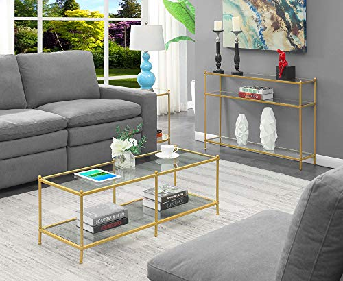 Convenience Concepts Royal Crest Coffee Table, Clear Glass / Gold