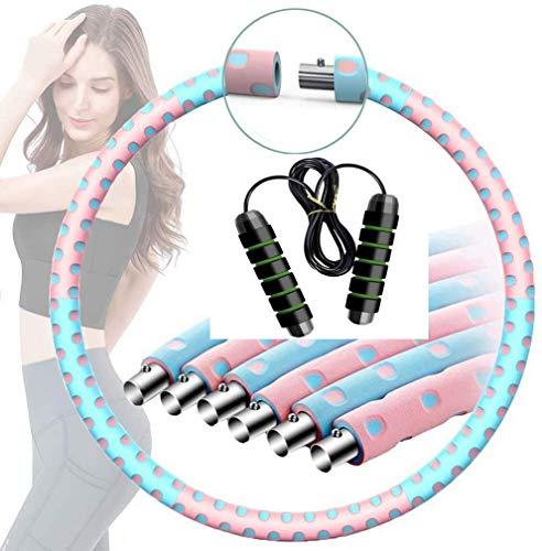 JINQI ForwardLin Hula Hoop Reifen Erwachsene Abnehmbarer Hoola Hoop Reifen von 1 bis 4kg für schmerzempfindliche und Profis hullahub Reifen für Abnehmen Fitness Massage (Hula Hoop + Springseil)