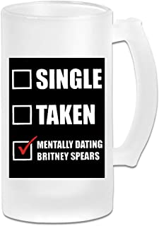 Hidreama MentallyDatingBritneySpears Coffee Mugs 15 Ounces Frosted Glass Novelty Tea Cup
