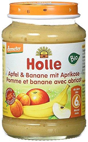 Holle Apfel & Banane mit Aprikose, 6er Pack (6 x 190 g) - Bio