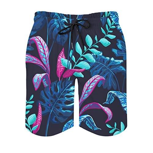 Generic Brands – Bañador de playa tropical con hojas de palma de secado rápido para hombre, cómodo, pantalones de surf, Primavera-verano 14., Hombre, color blanco, tamaño XXXL