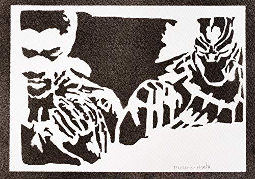 Póster Black Panther Los Vengadores Grafiti Hecho a Mano - Handmade Street Art - Artwork