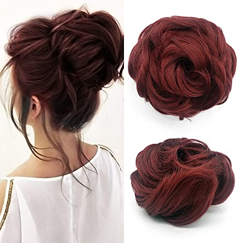 2Pcs Burgundy Messy Bun Hair Piece Drawstring Ponytail Short Curly Wavy Chignon Updo Donut Hair Extensions Synthetic Clip in Hairpieces for Women Girls(Bug)
