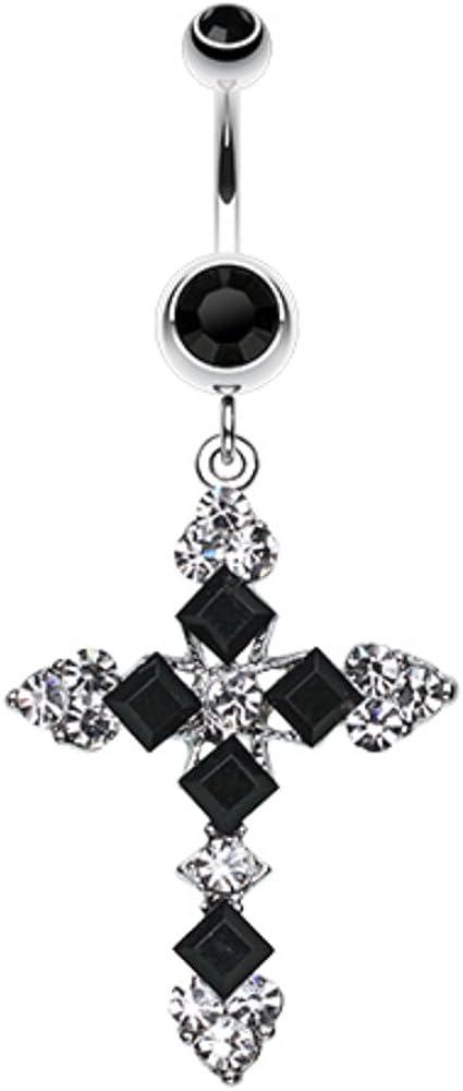 Princess Cut Cross Sparkle WildKlass Belly Button Ring