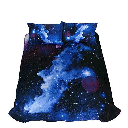 Juego de funda de edredón para cama de matrimonio, con diseño de estrellas, para niños, adolescentes (1 funda de edredón 2 fundas de almohada)