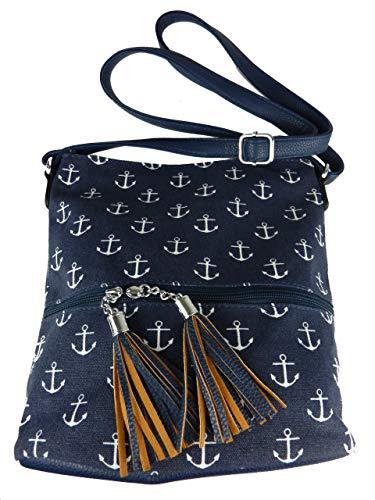 kleine Stofftasche I Umhängetasche mit Motiv Anker, Fächer, langer Trageriemen I Damen Handtasche I canvas Tasche (blau)