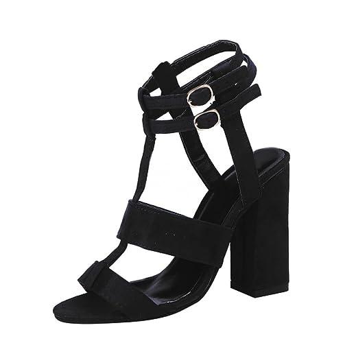 221cc8b80 OverDose Fashion Women Ladies Sandals Ankle High Heels Block Party Open Toe  Shoes