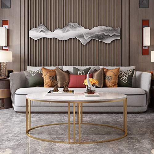 Couchtisch Beistelltische Kaffeetische Ovaler Beistelltisch aus weißem Marmor für das Wohnzimmer eines kleinen Apartments mit Aufbewahrungsdekor, Metallgestell in Gold - 80x50x45cm