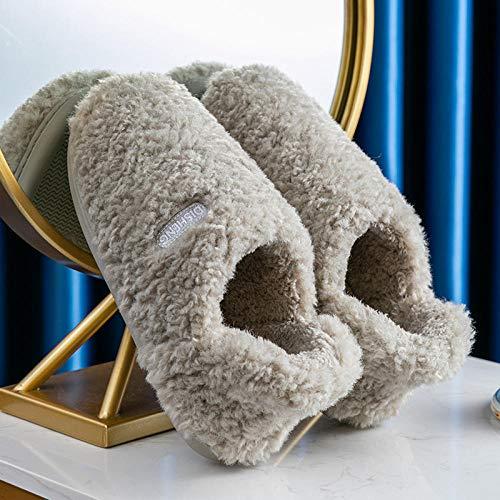 Nwarmsouth Zapatos de casa con Interior,Zapatillas calientitas con tacón, Zapatos caseros de Felpa de algodón-Gris Claro_43-44,Casa Cálido Felpa Suave Invierno Pantuflas
