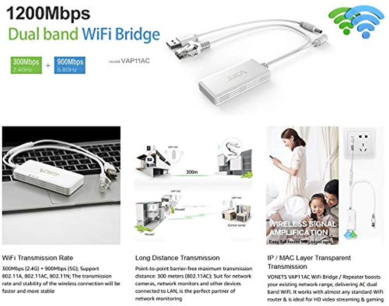 盗賊心臓植生ACHICOO Wi-Fiエクステンダ ミニ ワイヤレス ブリッジリピータ Wi-Fi デュアルバンド ブリッジレンジ エクステンダ VONETS AC1200